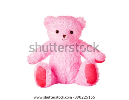 Pink teddy bear isolated on white.