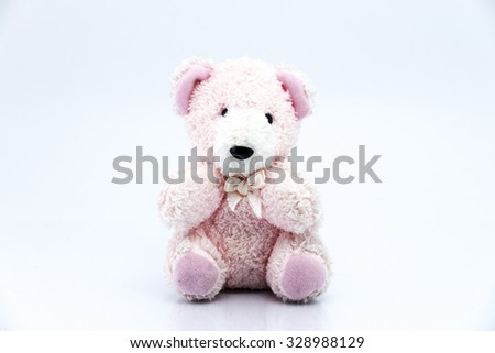 Pink teddy bear isolated on white background, Classic teddy bear - stock photo