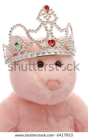 Pink teddy bear wearing tiara - stock photo
