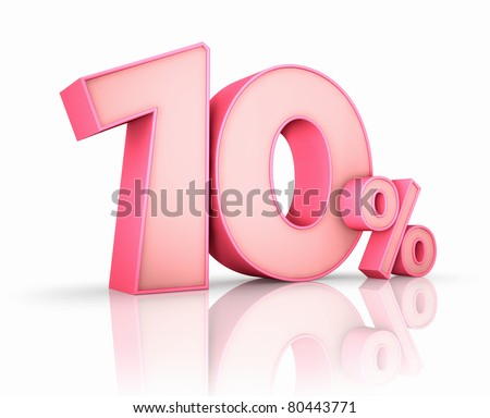 Pink ten percent, isolated on white background. 10% - stock photo