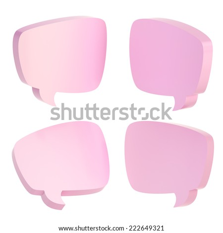 Pink text bubble dimensional shapes isolated over the white background, set of four foreshortenings - stock photo