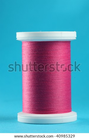 pink thread sewing - stock photo