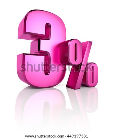 Pink three percent sign isolated on white background. 3d rendering - stock photo