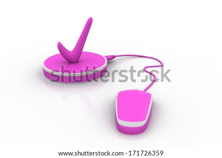 pink tick with pc mouse