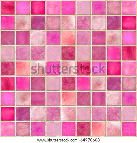 Pink Tile Mosaic - stock photo