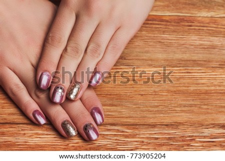 Pink Tinsel Nail Art On Wooden Stock Photo Royalty Free 773905204