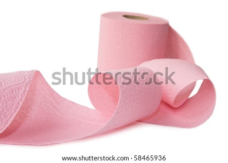 Pink Toilet Paper isolated on white - stock photo
