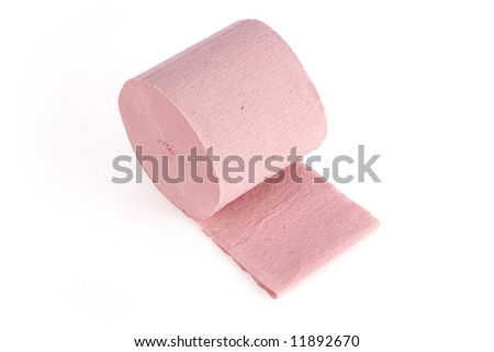 Pink toilet paper, isolated on white background - stock photo