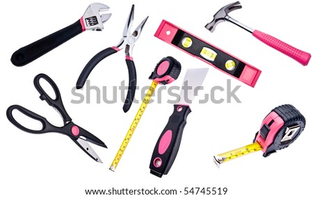Pink Tools Isolated on White for Women.  Feminine Colored Tools. - stock photo
