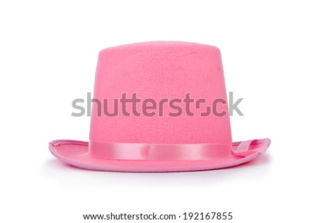 Pink topper hat isolated on the white - stock photo