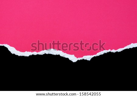 pink torn paper element over black background - stock photo