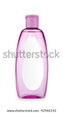 pink transparent bottle - stock photo