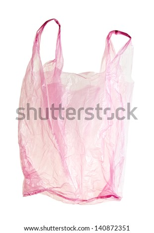 Pink, transparent, plastic bag with clipping path. Backlit without shadow. - stock photo