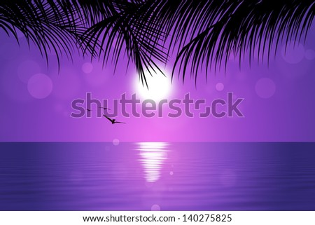 pink tropical sunset background with palms birds and sunny blurs - stock photo