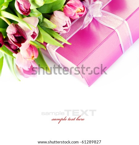 Pink tulips and gift box on a white background. With easy removable sample text.
