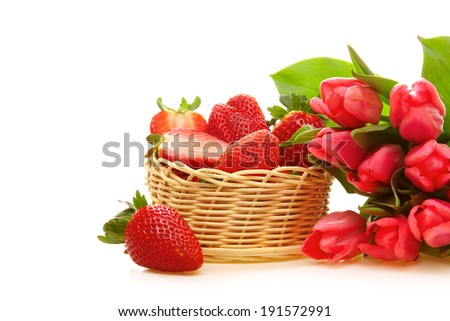 Pink tulips and strawberry isolated.