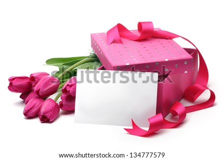 Pink tulips,blank card and gift box on white background - stock photo