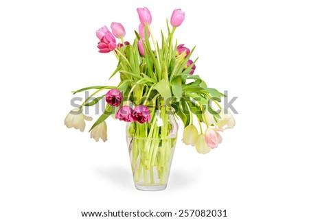 Pink tulips bouquet in vase  - stock photo