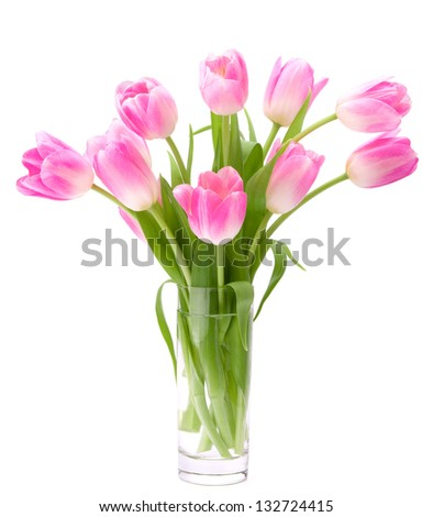 Pink tulips bouquet in vase isolated on white background - stock photo