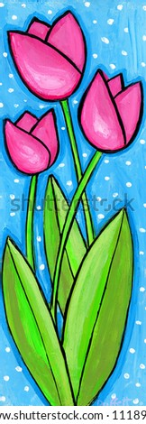 Pink Tulips painting/ illustration - stock photo