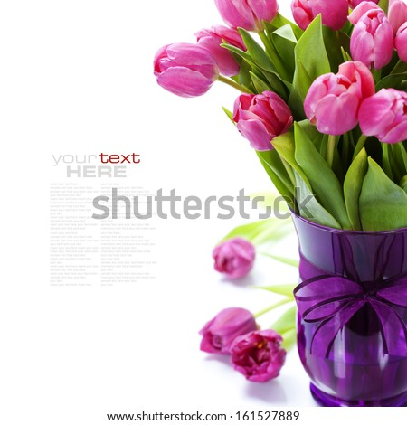 Pink tulips Valentine's day over white (with easy removable text) - stock photo