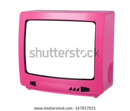 Pink TV isolated on white background - stock photo