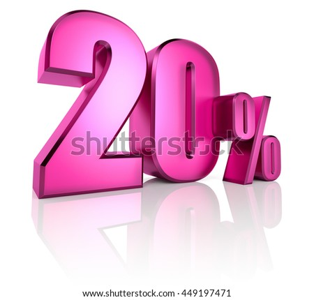 Pink twenty percent sign isolated on white background. 3d rendering - stock photo