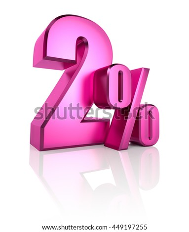Pink two percent sign isolated on white background. 3d rendering - stock photo