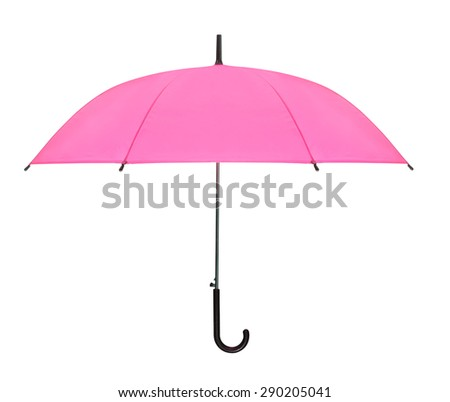 pink umbrella isolated against white background - stock photo