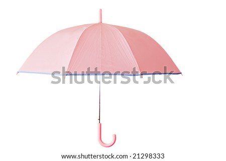 pink umbrella isolated with clipping path - stock photo