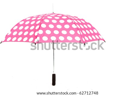 Pink Umbrella With White Spots on White Isolated Background