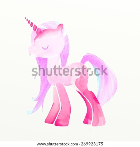 Pink unicorn, digital painting illustration. Super colorful, vibrant colors, bright light. Isolated, white background. Perfect for cards, posters and fairy tales. - stock photo