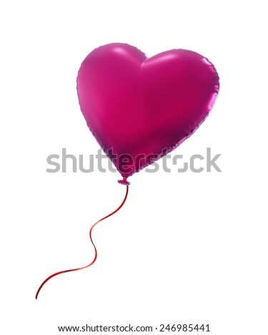 pink Valentine heart balloon, 3d object isolated on white background