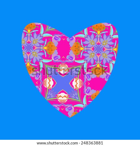 Pink Valentine heart   on a   blue background. Hand drawn.