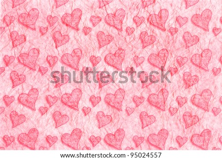 Pink Valentine's day background with hearts - stock photo