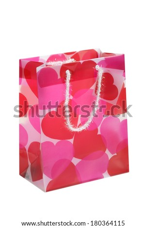 Pink Valentine's Day gift bag on white background - stock photo