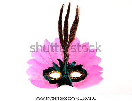 Pink Venetian Mask with Feathers on White - stock photo
