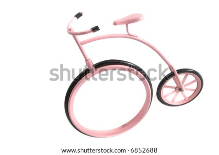 Pink vintage bike toy - stock photo