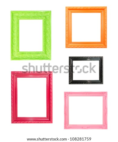 Pink Vintage picture frame, wood plated, blue wood background, clipping path included - stock photo