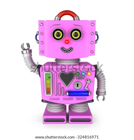 Pink vintage toy robot girl smiling and waving hello over white background