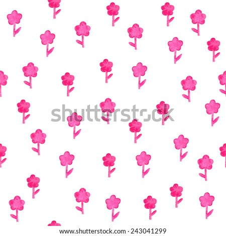 Pink  watercolor flowers seamless background. Romantic vintage pattern with tinyflowers. - stock photo