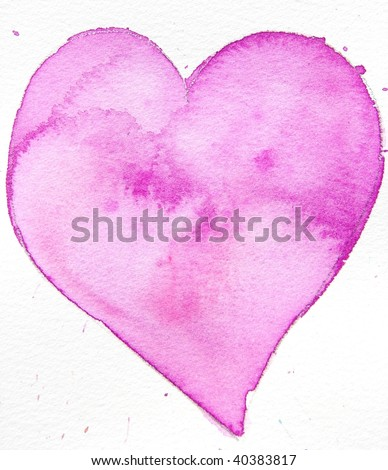 pink watercolor heart - stock photo
