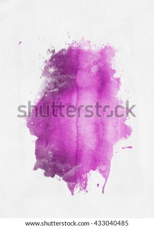 Pink watercolor paint banner with random brushstrokes as a central band over textured white paper with copy space for a design template - stock photo