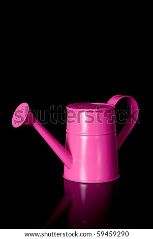 pink watering can, studio shoot isolated on black with reflection - stock photo