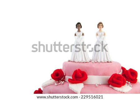 Pink wedding cake with red roses and lesbian couple on top - stock photo