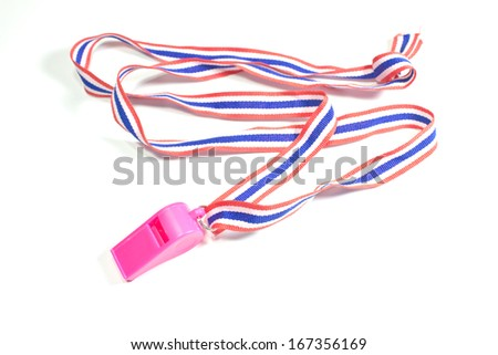 pink whistle with Thailand national flag lanyard on white background - stock photo