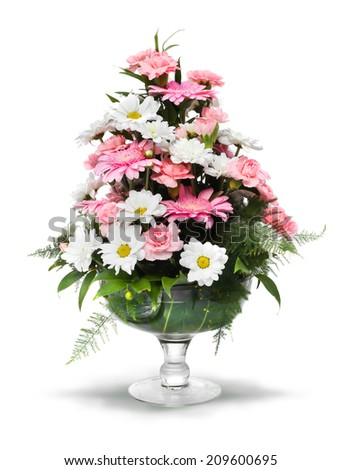 Pink white gerber daisy bouquet in glass vase, isolated on white - stock photo