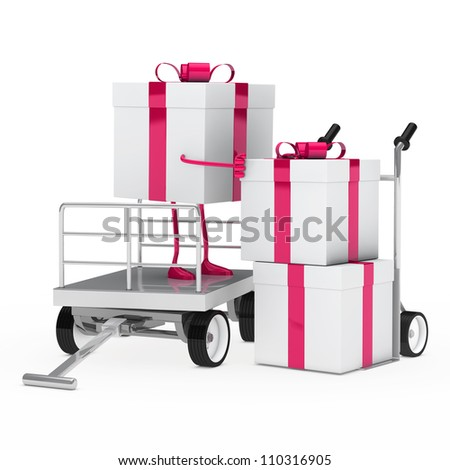 pink white gift box onload a trolley