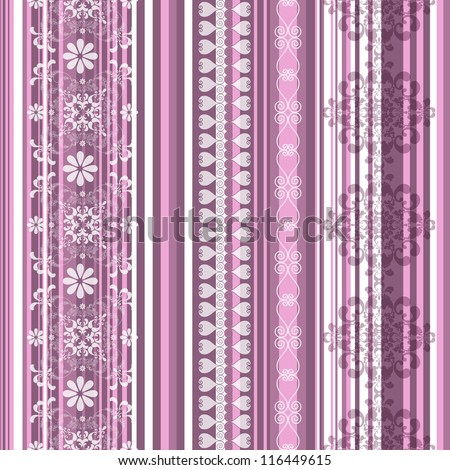 Pink-white-purple translucent seamless striped vintage pattern - stock photo