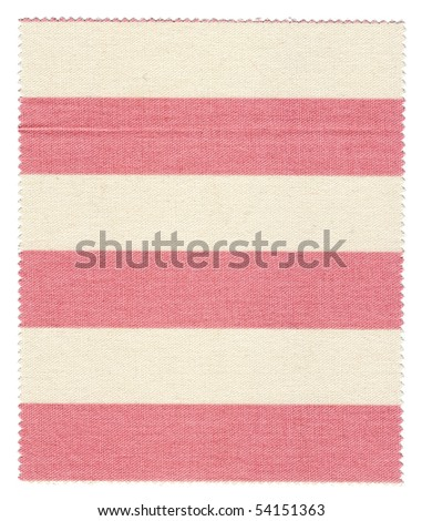 Pink/White striped fabric swatch with trimmed zigzag edges
